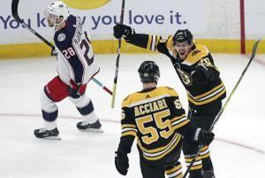 Coyle scores 2, leads Bruins to 3-2 OT win over Columbus