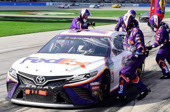 Denny Hamlin suffers two pit road penalties, rebounds to win at Texas