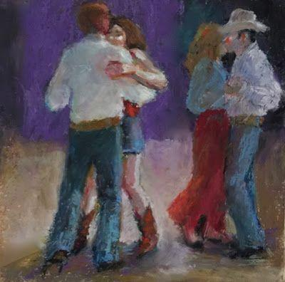 Country Evening Two-Steppers - oil pastel figurative painting