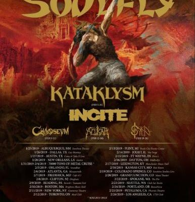 SOULFLY Announces 2019 North American Tour With KATAKLYSM