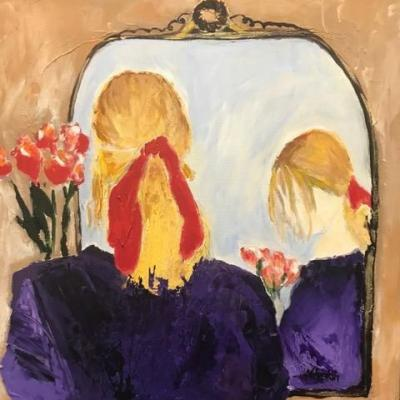 """Abstract Portrait,Fine Art Painting,Expressionist Painting, Mirror, Flowers """"MOMENT OF REFLECTION"""" by Oklahoma Artist Nancy Junkin"""