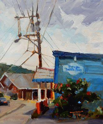 """""""Bayview Barber Shop"""" Paintout Poulsbo, plein air painting by Robin Weiss"""