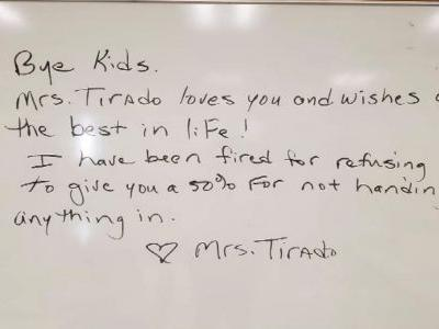Teacher claims she was fired for giving zeroes to kids who didn't turn in their work