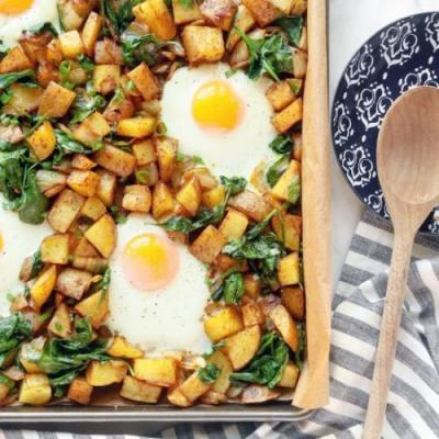 Potato, Spinach and Egg Hash
