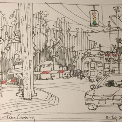 "Day 280 ""Train a Comin'"" 7 x 9 pen & ink with pencil"