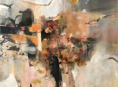 """Contemporary Abstract Landscape Art Painting, 30 Day Challenge """"Escape From Night"""" by Intuitive Artist Joan Fullerton"""