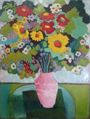 "Contemporary Abstract Still Life Flower Art Painting ""Summer Day"" by Santa Fe Artist Annie O'Brien Gonzales"