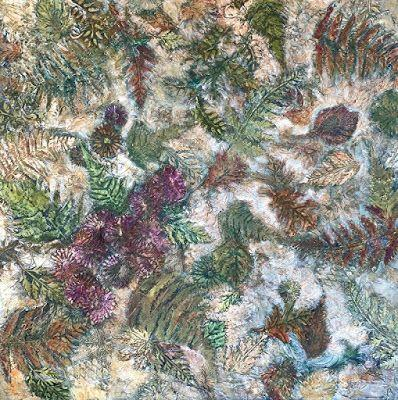 "Botanical Abstract Painting,Textured Art, Mixed Media Fine Art For Sale ""First Frost"" by Contemporary Artist Liz Thoresen"