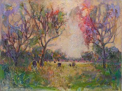 """Contemporary Landscape Painting,Cows,Pasture, Mixed Media, Trees, Fine Art For Sale, """"Second Gathering"""" By Passionate Purposeful Painter Holly Hunter Berry"""