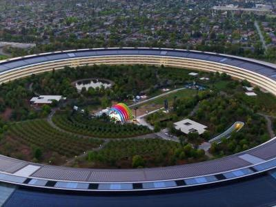 Apple Park drone videos make a return, show mystery stage at center of spaceship ring