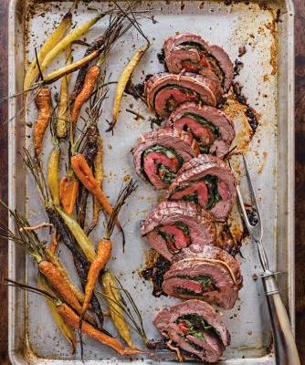 Roasted Red Pepper, Spinach & Asiago Stuffed Flank Steak with Brown-Sugared Carrots