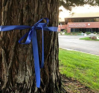 Residents tying blue ribbons to trees to honor slain Sacramento County deputy