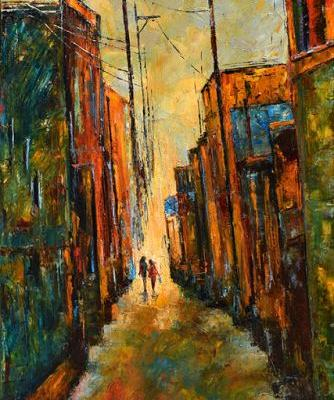 "Alley Cityscape Street Scene Palette Knife Oil Painting ""Blue Bag"" by Debra Hurd"