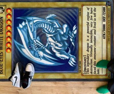 Banish Yourself To the Shadow Realm With This Blue-Eyes White Dragon Rug