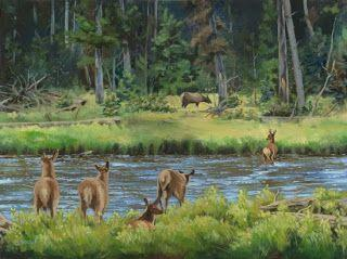 """Wildlife, Western Landscape Painting """"Elk Calves Crossing the Madison River"""" by Colorado Artist Nancee Jean Busse, Painter of the American West"""