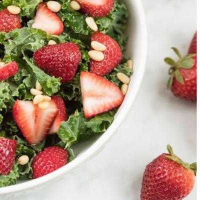 Crisp Kale and Strawberry Salad with O White Balsamic Vinaigrette