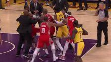 LeBron James' First Lakers Home Game Turns Into A Brawl