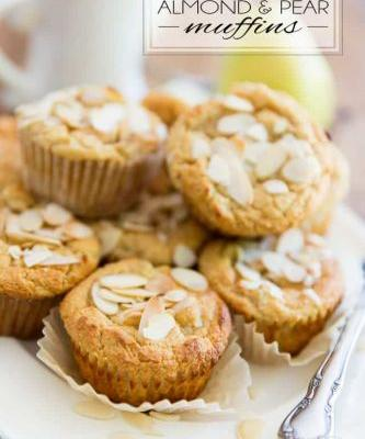 Gluten Free Honey Almond Pear Muffins