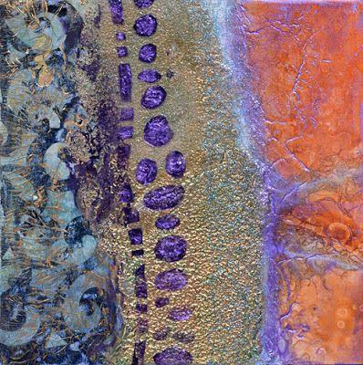 """Contemporary Abstract Mixed Media Painting """"The Outer Rings"""" by Santa Fe Contemporary Artist Sandra Duran Wilson"""