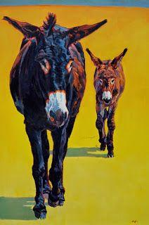 """Colorful Contemporary Donkey Art, Burro Painting Farm Animal """"Tag Along"""" by Contemporary Animal Artist Patricia A. Griffin"""
