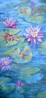 Pink Water Lilies, New Contemporary Landscape Painting by Sheri Jones