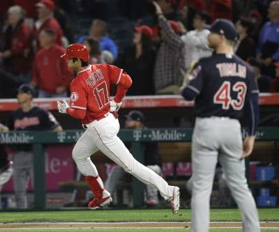 Angels DH Shohei Ohtani blasts first major league home run off Cleveland Indians' Josh Tomlin