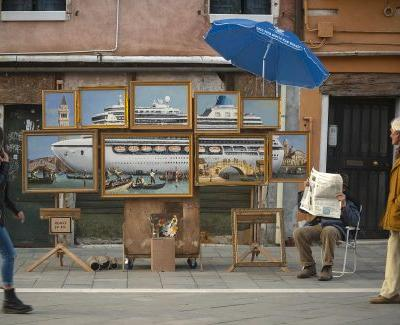 Banksy Sets Up Amongst Venice Street Vendors to Share a New Multi-Panel Painting
