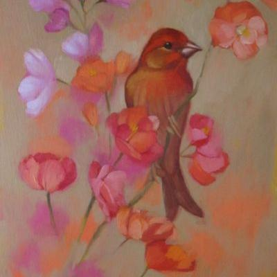 Red Bird, Finch painting