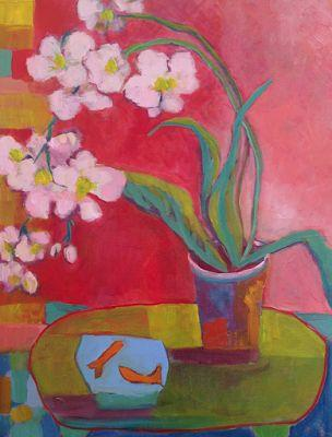 "Contemporary Abstract Still Life Art Painting ""PHALAENOPSIS ORCHIDS"" by Santa Fe Artist Annie O'Brien Gonzales"