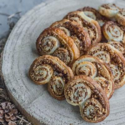 Pecan and honey palmiers