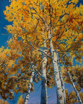 "Aspen Trees, Original Colorado Landscape Fine Art Painting ""True Gold"" by Colorado Artist Nancee Jean Busse"
