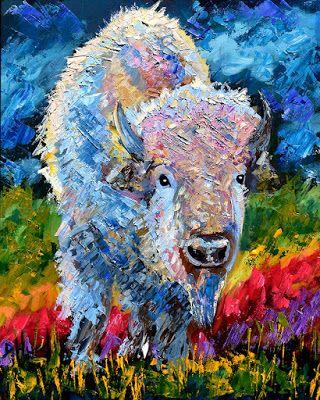 """Bison Painting, Buffalo, Contemporary Wildlife, Palette Knife Oil Painting """"Sacred Bison"""" by Texas Artist Debra Hurd"""