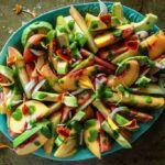 Tomato Peach and Avocado Salad with Cilantro Vinaigrette
