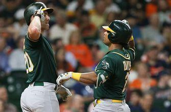 Khris Davis crushes two home runs in Athletics blowout win over Rangers