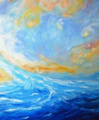 """Contemporary Abstract Seascape Painting """"Reckless Enthusiasm"""" by Contemporary International Artist Arrachme"""