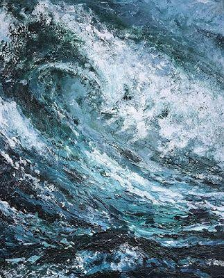 """Abstract Seascape, Contemporary Art, Abstract Painting, Expressionism, Mixed Media, """"SHOULD I GO?"""" by Contemporary Artist Liz Thoresen"""