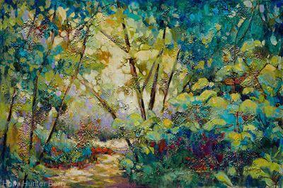 """Contemporary Landscape, Tree Painting, Mixed Media, """"Approach The Garden"""" By Passionate Purposeful Painter Holly Hunter Berry"""