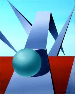 Mark Webster - Abstract Geometric Sphere Track 1 Painting