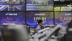 Global shares mostly lower as data shows China growth slowed
