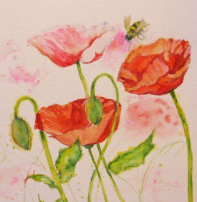 """Bee Dazzled Poppies I"" Original Abstract Bee Poppy watercolor by Janice Trane Jones"