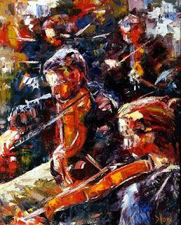 "Abstract Figurative Music Art Orchestra Palette Knife Painting ""Performance"" by Texas Artist Debra Hurd"