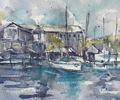 "Fishing Boats Painting, Fine Art, Seascape, Watercolor ""OCRACOKE HARBOR INN"" by Carolyn Zbavitel Artist"