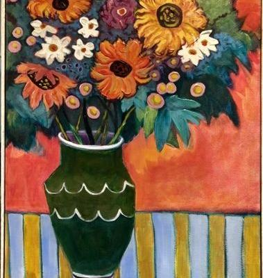 """Contemporary Abstract Bold Expressive Still Life Flower Art Painting """"Sunny Day"""" by Santa Fe Artist Annie O'Brien Gonzales"""