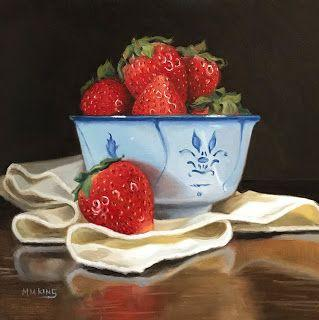 Strawberries and Blue Bowl -SOLD