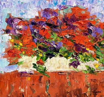 "Still Life Palette Knife Floral Fine Art Painting ""On My Patio II"" by Colorado Impressionist Judith Babcock"