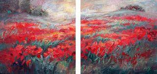 """""""Nature's Brushstrokes"""" diptych painting by Niki Gulley"""