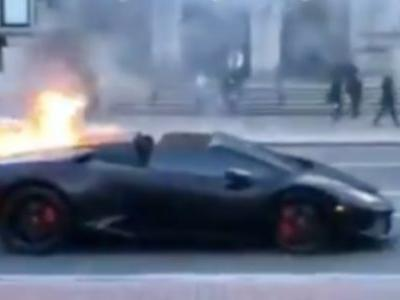 Lamborghini Huracán Spyder Catches Fire Near Boston Public Library; Who Knew Lamborghini Owners Read Books?