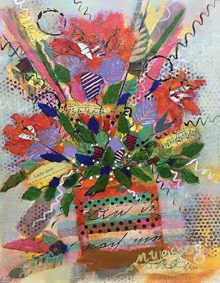 """Abstract Flower Art Painting, Contemporary Art, Music Art, Mixed Media Floral """"Lady Love"""" by Illinois Artist Marilyn Weisberg"""