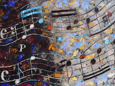 """Abstract Music Art Painting, Oil Painting, """"Bach Invention"""" by Texas Artist Debra Hurd"""