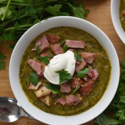 Squash & Kale Soup with Smoked Ham